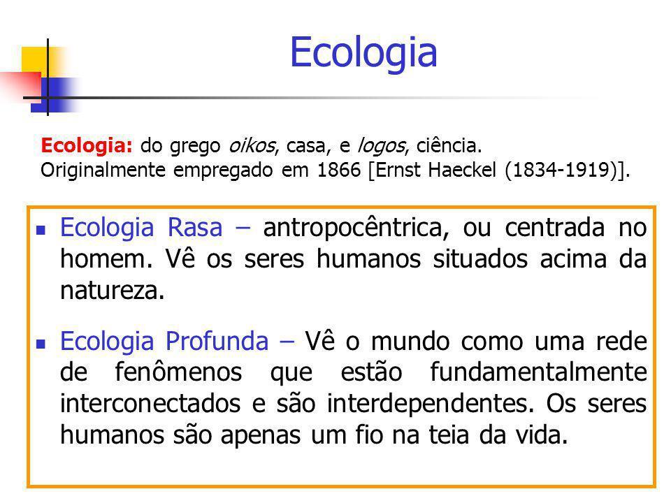 Ecologia Ecologia: do grego oikos, casa, e logos, ciência. Originalmente empregado em 1866 [Ernst Haeckel (1834-1919)].
